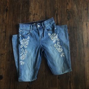 Express Embroidered Floral Jeans